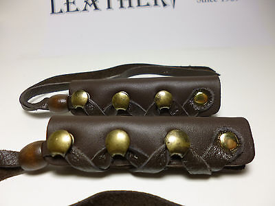North Star Brown Leather Long Hair Ties-For Pony Tail/Braid Wrap-Made In USA#112
