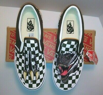 b00fe75d21a0c4 VANS KIDS CLASSIC Slip On Checkerboard Dino Kids Size 2.5 NWT in Box ...
