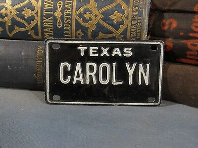 Vintage 1960s Texas Bicycle License Plate CAROLYN Personalized Name Bike Plate