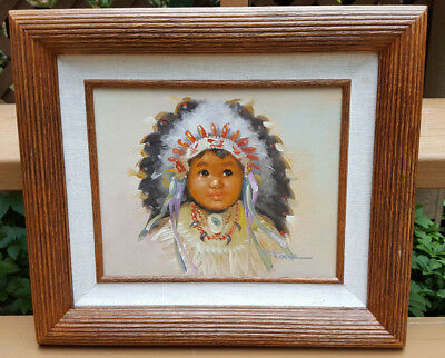 """Native American Indian Child Signed """"Stone"""" Oil on Canvas 8 X 10"""