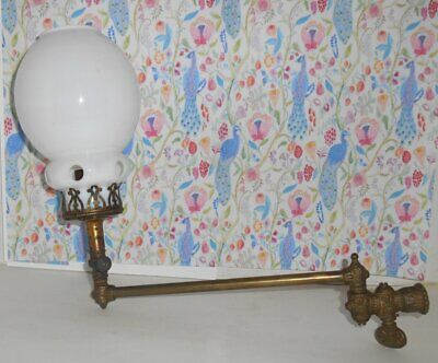 Antique Brass Gas Wall Sconce Light Swing Arm With Globe Signed Trademark