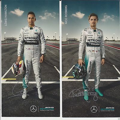 Set of Lewis Hamilton & Nico Rosberg Formula 1 Cards Mercedes AMG F1 Champion