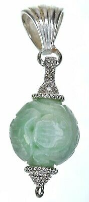 Sterling silver Green Jade craved ball Pendant