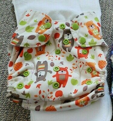 Blueberry One Size Pocket Cloth Diaper Bears Snap Orange