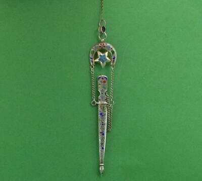 Antique Russian silver Cloisonne Ladies Chatelaine letter Opener YA S  c 1880