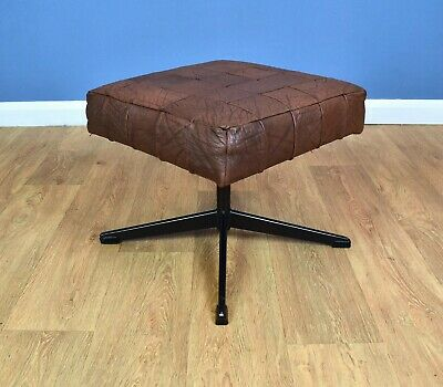 Mid Century Retro Vintage Danish Swivel Brown Leather Foot Stool Ottoman 1970s