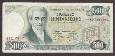 Greece Banknote - 500 Drachmas - 1983 Issue - Pick # 201 - OLD