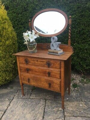 Antique OAK Chest of Drawers Solid Wood Farmhouse Victorian MIRROR