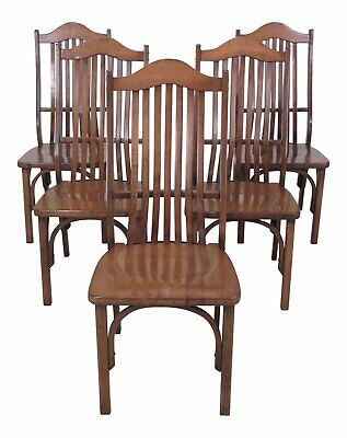 F47261EC: Set Of 5 Adirondack Style Bentwood Maple Dining Room Chairs