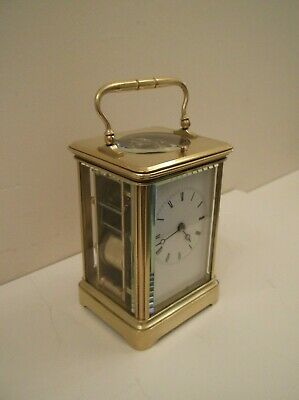 Wonderful Small Repeater Brass Carraige Clock In Excellent Working Order +