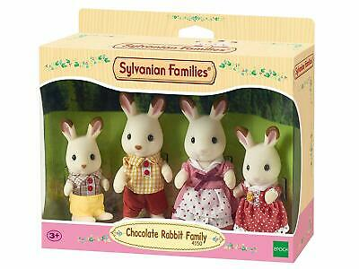 Sylvanian Families Chocolate Rabbit Family Set Toy Doll Removable Fabric Clothes