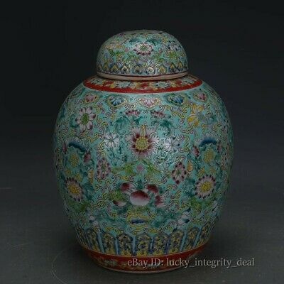 Antique Chinese Old Green color flower Porcelain Jar tank with Lid