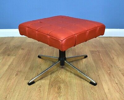 Mid Century Retro Vintage Danish Red Leather Swivel Foot Stool Ottoman 1970s