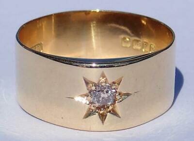 Sparkling Antique Art Deco 18K Gold Diamond Star Wedding Band Ring 1918 Sz 11.5