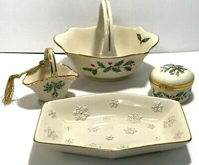 Lenox China Christmas Lot ~ Holly & Berry Basket & Trinket Box  / Snowflake Dish