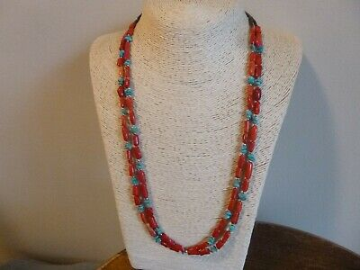 Natural Red Coral And Turquoise Nuggets Native American Navajo Necklace