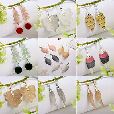 Fashion Women Natural Real Dipped Leaves Specimen Hook Earrings Jewelry Gifts