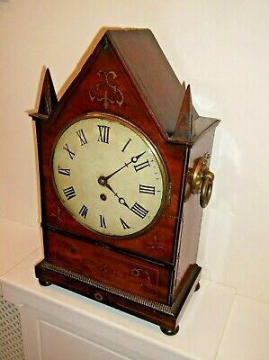LARGE VICTORIAN GOTHIC SINGLE FUSEE BRACKET CLOCK, in GREAT WORKING CONDITION +