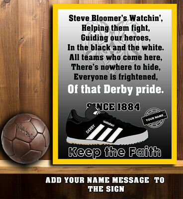 PERSONALISED DERBY COUNTY FOOTBALL  TRAINER SONG FANS VINTAGE   Metal  Sign