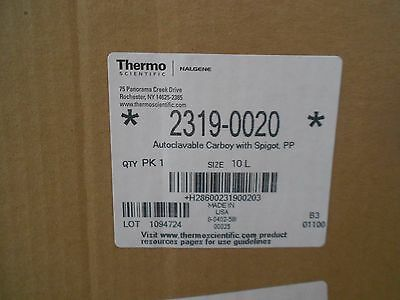 Brand New 10L Thermo Nalgene Autoclavable Carboy Bottle Spigot PP 2319-0020