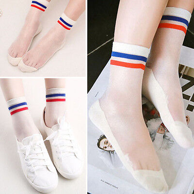3PC White/Blue/Red Top Classic Sheer Mesh Stretchy Short Ankle High Anklet Socks