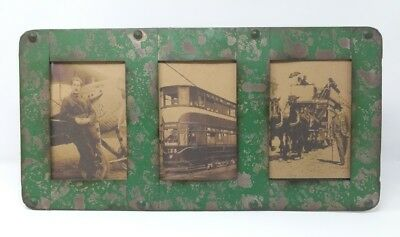 Country Vintage Style Photo Frame 3 Photos 4 x 6 Metal Green Table Stand