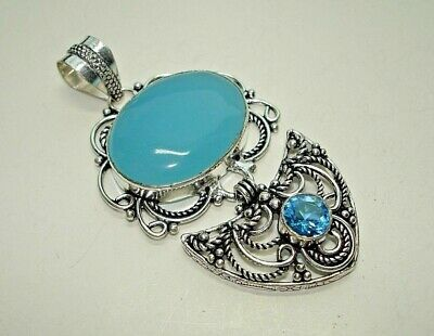 AB One-of-a-Kind Chalcedony Blue Topaz Silver Filigree Pendant Necklace 2.75""