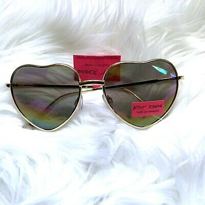 fcc6b9d73 Betsey Johnson Sunglasses Hearts XOX Love Gold Heart-ppShaped Hippie Glasses  NEW
