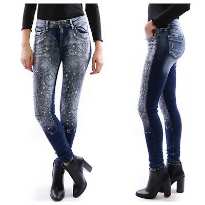 NEW WOMENS LADIES STYLISH SLIM FIT DIAMANTE STUD STAR DETAIL DENIM SKINNY JEANS