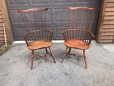 W C W Warren Chair Works Pair New England Windsor Arm Chairs