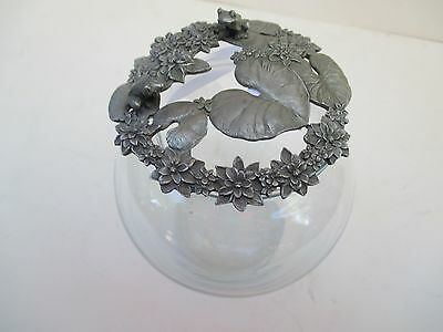1989 RAWCLIFFE Pewter Lid-Frogs and Lilly Pads on Glass Potpourri Jar 5195