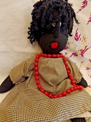 """17"""" Primitive Country Folk Art Plush Black SOCK DOLL tea stained clothes"""