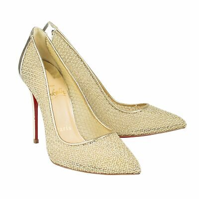 best service d570e 51f25 NIB CHRISTIAN LOUBOUTIN Gold 'Follies Resille' Mesh 100mm Heels Shoes 5/35  $895