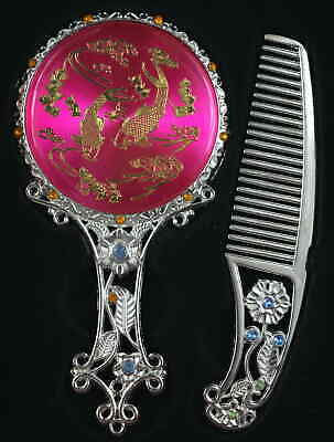 AAA Decorate Tibet Silver Carve Flower Gilding Fish Noble Hand Mirror Comb & Box