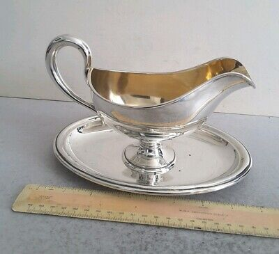 LARGE, ANT. GERMAN 800 SOLID SILVER SAUCE BOAT ON STAND.    459GMS       c.1875.