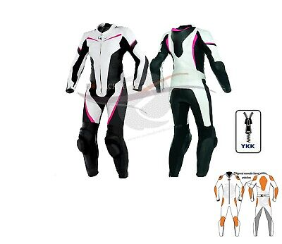 Womens motorbike leather suit one piece in white black purple lining size S
