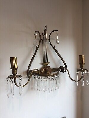 Large Pair Of Antique French Brass And Cut Glass Crystal Sconces