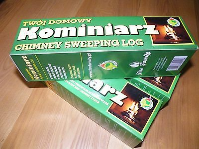 CHIMNEY CLEANING LOG SWEEPER FLUE SOOT and FIREPLACE CLEANER, ECO-SHINE product