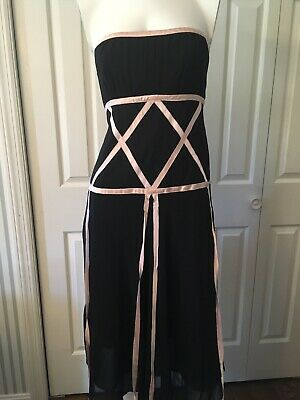 54d58662 Nicole Miller Collection Black Silk Strapless Dress Pink Ribbons Side Zip 2  XS