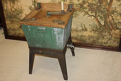 Antique Wooden Hand Crank Manual & Gas Heating Washing Machine with Wringer