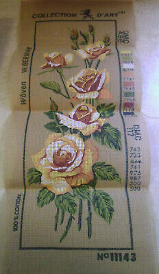 "Vintage Collection D'Art Needlepoint Canvas, Yellow Roses, 19""x7"", W. Germany"