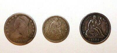 1 CAPPED BUST DIME   2 SEATED LIBERTY HALF DIMES   lot of 3