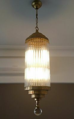 Vintage Art Deco Brass & Glass Rod Ceiling Fixture Chandelier Ship Light Lamp