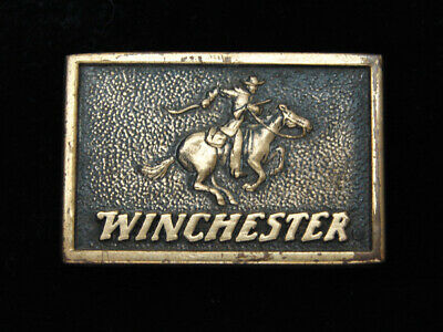 QI01157 VINTAGE 1970s **WINCHESTER** GUN & FIREARM SOLID BRASS BTS BELT BUCKLE