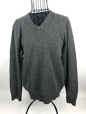 RALPH LAUREN Polo Gray 100% Lambs Wool  V-Neck Sweater Size Mens Large Blue Pony