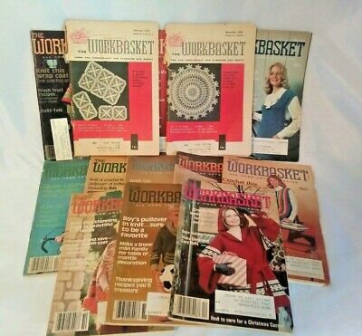 Vintage Lot of 13 Workbasket Magazines 1950's 1970's With Transfers Needlecraft