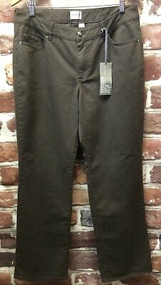 New $68 Chicos Sz 2 Womens 12 M Brown Chelsea Pacie Cotton Twill Pants Casual