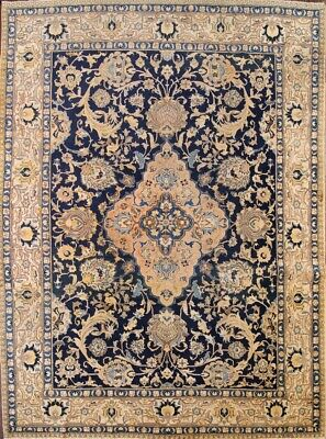 Antique Old Collectable 10x13 Wool Tabrez Khoy Persian Oriental Area Rug Blue