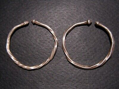 Pair Of Two Celtic Solid Silver Earrings, Twisted Coil Type, As Found+++