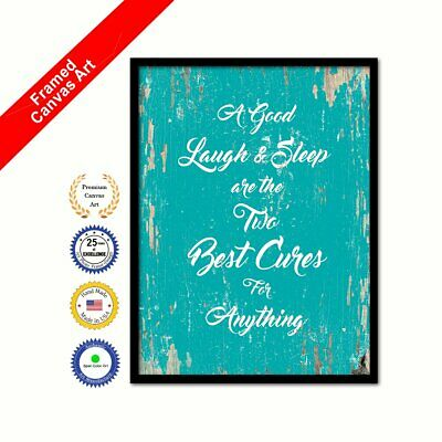 A Good Laugh & Sleep Are The Two Best Cures For Anything Framed Canvas  Aqua